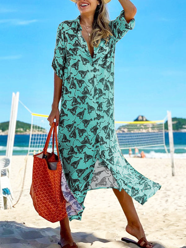 Women Half Sleeve Printed  Casual Holiday  Maxi  Shirt  Dress