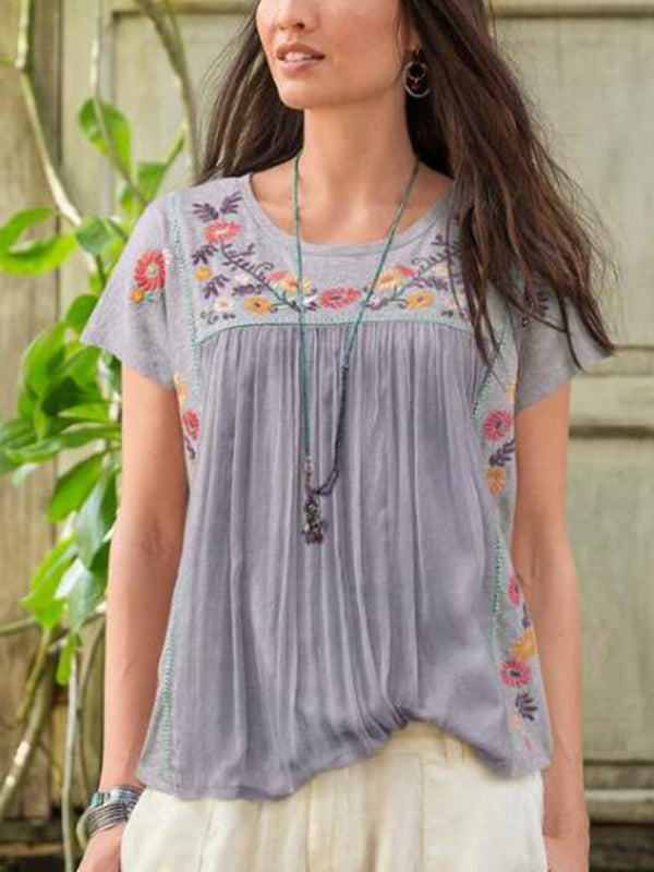 Light Gray Cotton-Blend Round Neck Printed Short Sleeve Shirts & Tops