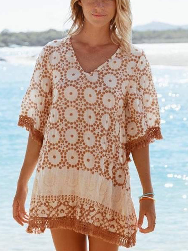 Light Orange V Neck Sweet Printed Chiffon Dresses