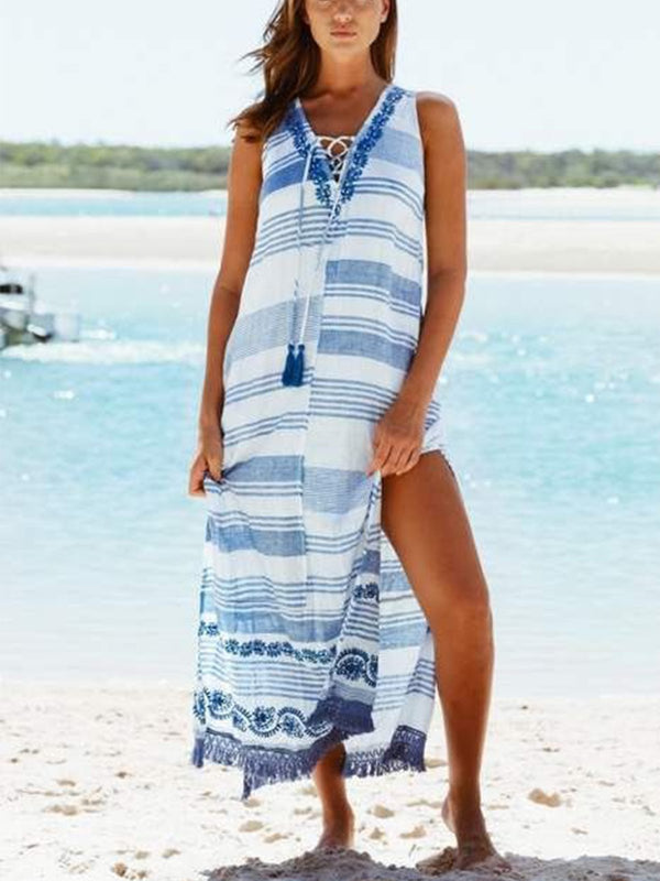 Blue V Neck Printed Boho Patchwork Dresses