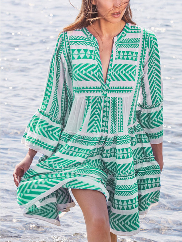 Cotton-Blend Half Sleeve Boho Dresses