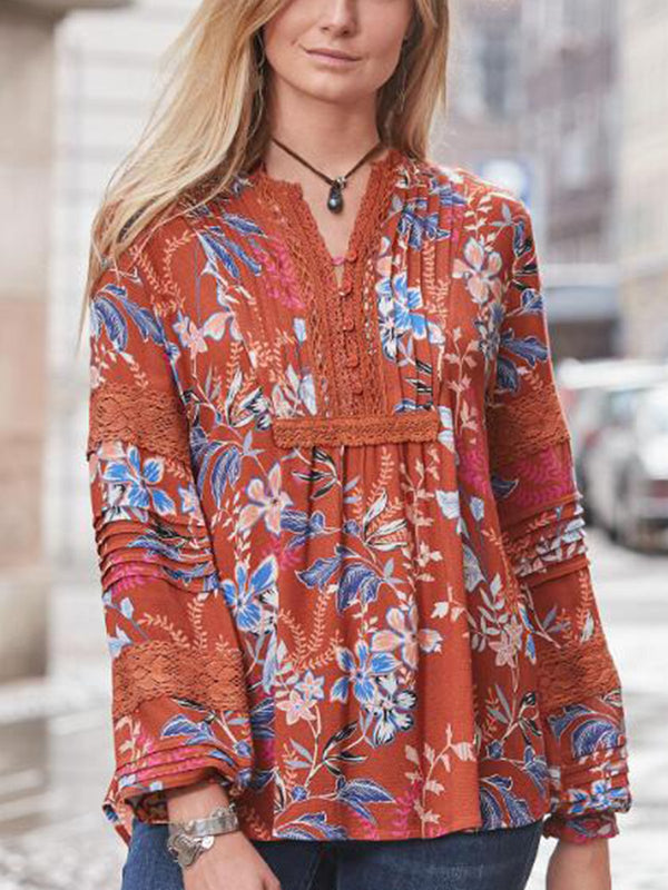 Long Sleeve Chiffon V Neck Patchwork Shirts & Tops