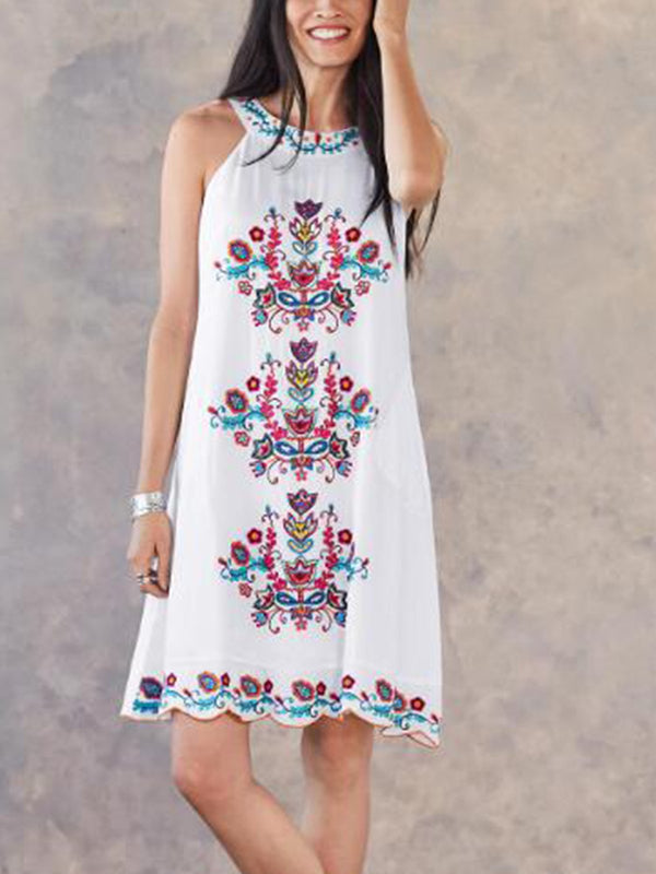White Sleeveless Cold Shoulder Dresses