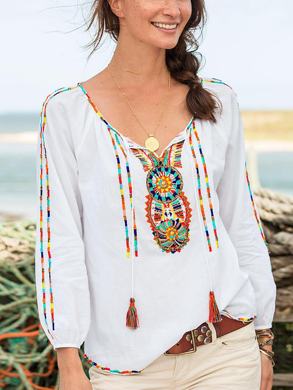 White Boho Printed Cotton-Blend Shirts & Tops