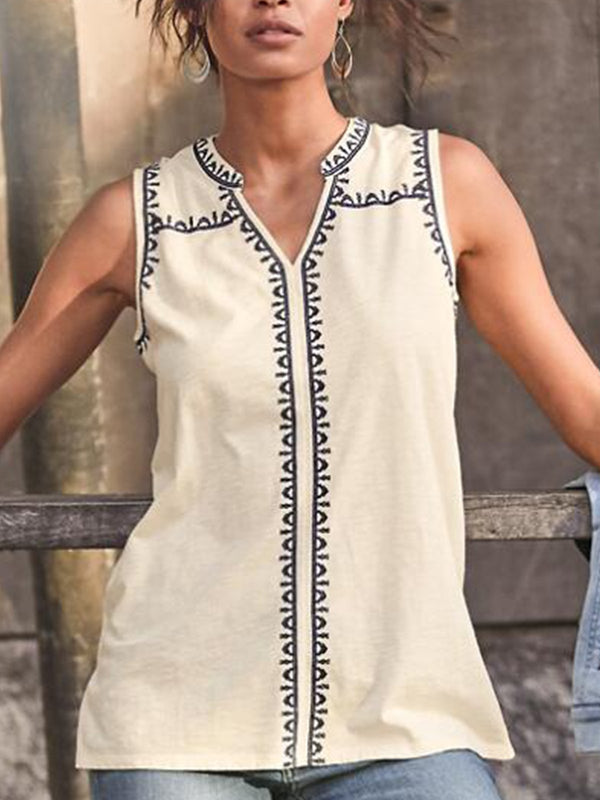 Sleeveless Printed Cotton-Blend Elegant Shirts & Tops