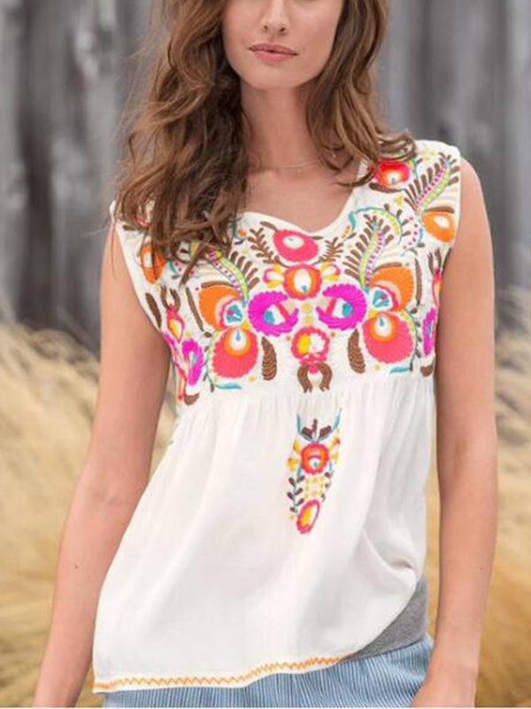 White V Neck Cotton-Blend Holiday Printed Shirts & Tops