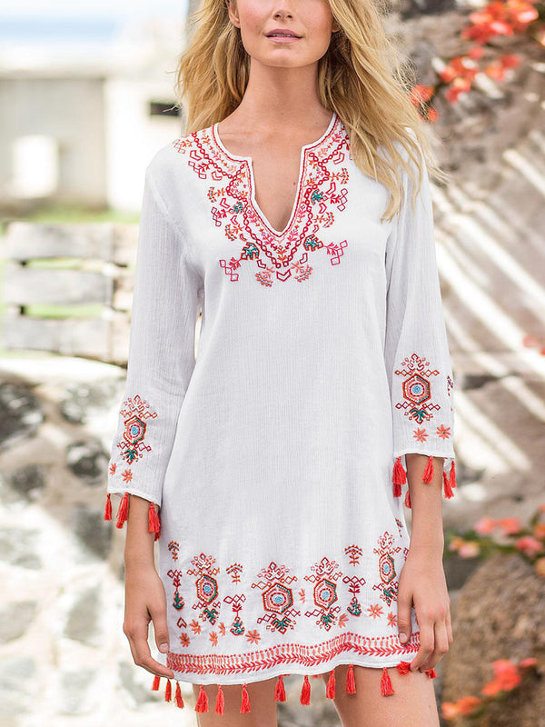 White Half Sleeve A-Line V Neck Cotton-Blend Dresses