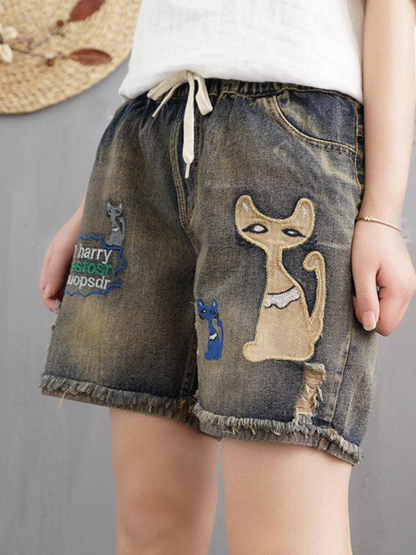 As Picture Embroidered Casual Denim Pants