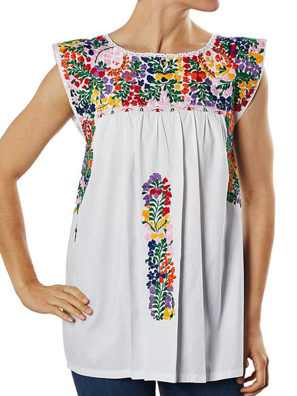 White Printed Sleeveless Round Neck Shirts & Tops