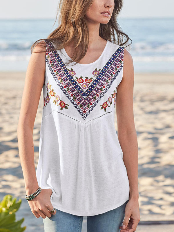 White Round Neck Printed Sleeveless Shirts & Tops