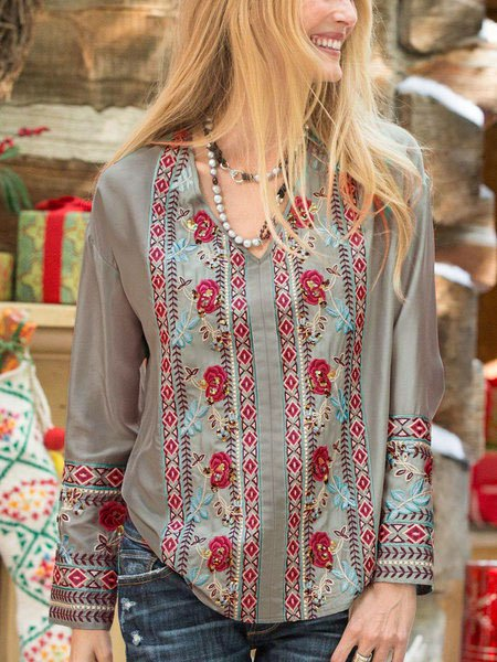 Green Cotton-Blend Long Sleeve Round Neck Floral Shirts & Tops