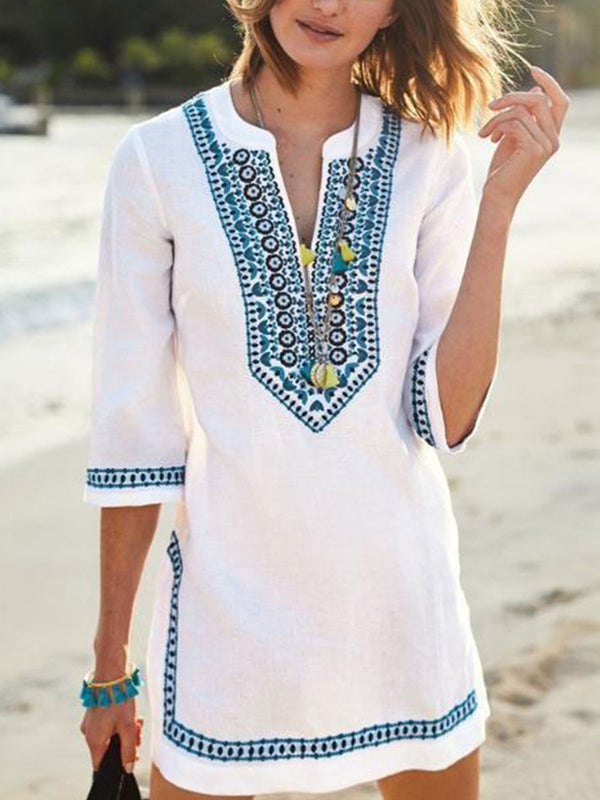 White Casual Cotton-Blend Round Neck Dresses