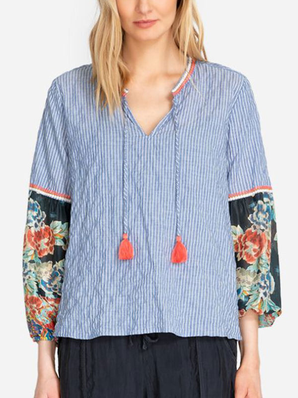 Blue Casual Cotton Shirts & Tops