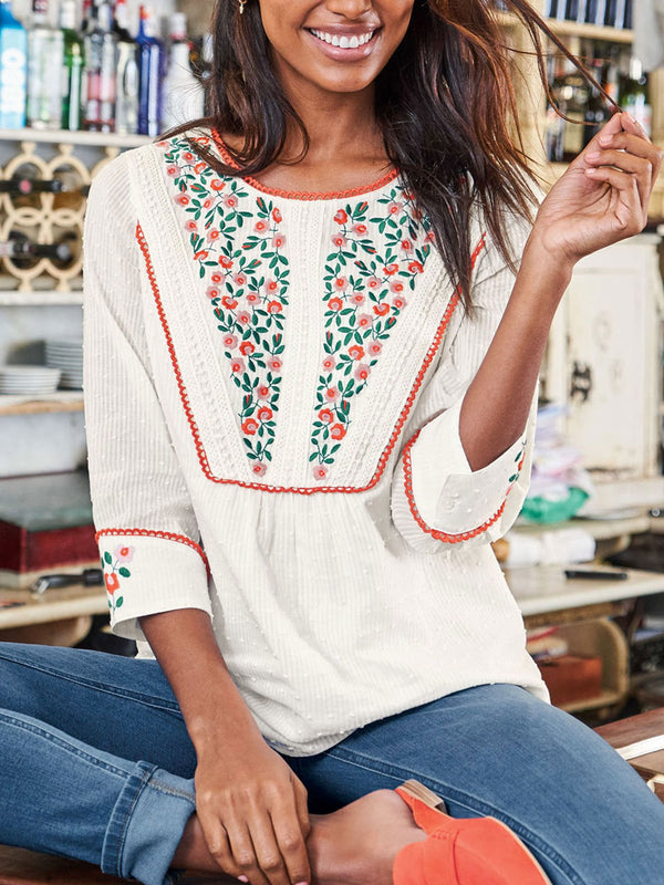 White Round Neck Floral Long Sleeve Cotton Shirts & Tops