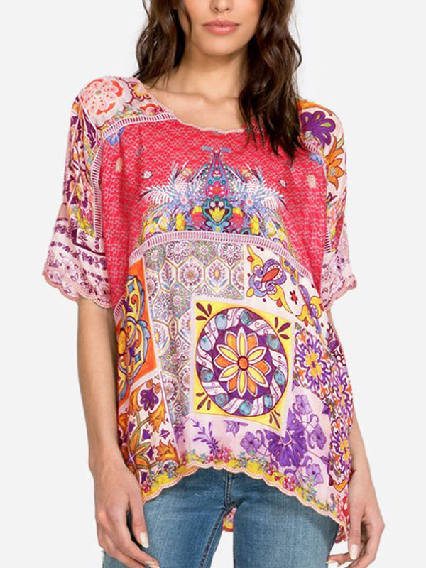 Rose Red Short Sleeve Casual Floral Shirts & Tops