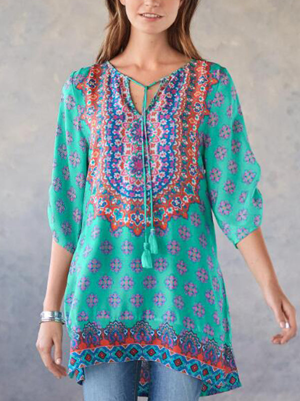Half Sleeve Printed Boho Shirts & Tops