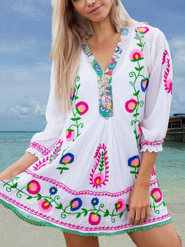 White Chiffon Boho V Neck 3/4 Sleeve Dresses