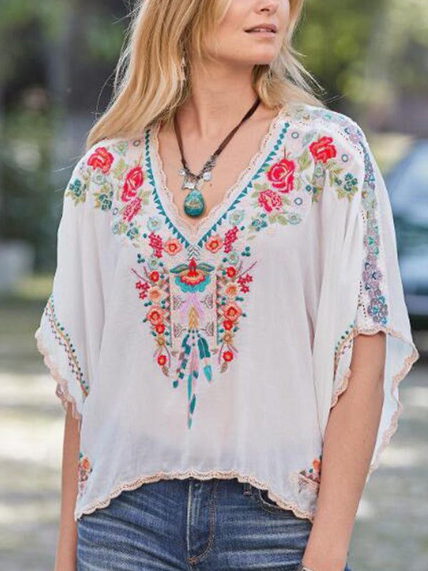 White Holiday Printed V Neck Shirts & Tops
