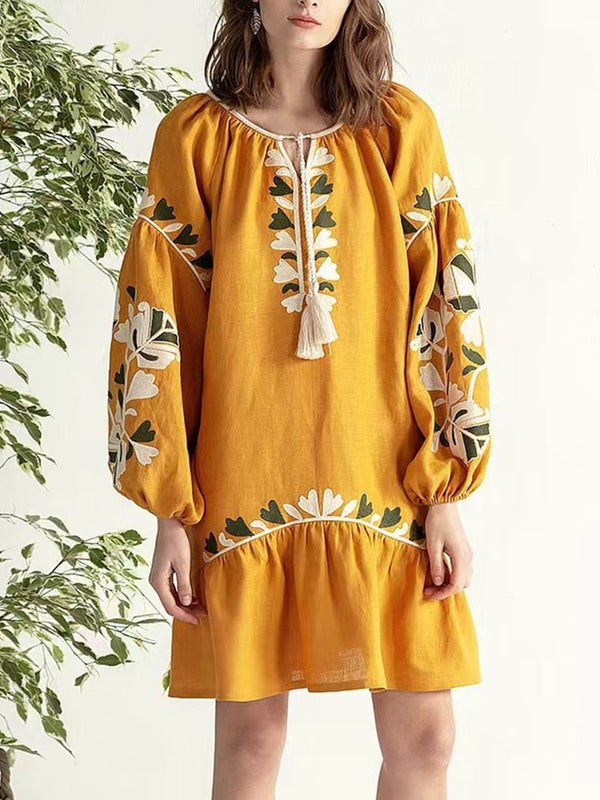 Plus Size Women Long Sleeve Round Neck Solid Vintage Floral Casual Midi Dress