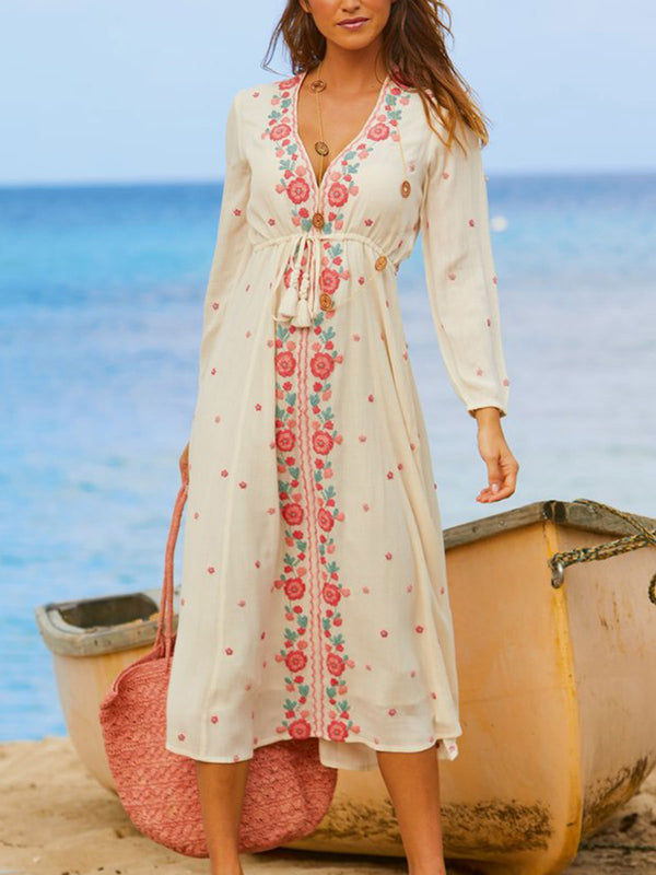 White Long Sleeve Leaf Casual Dresses