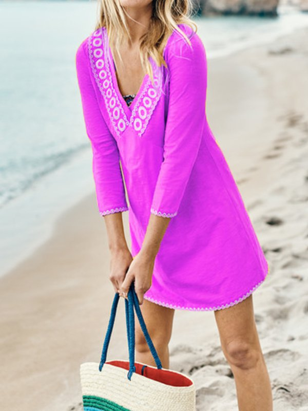 Printed Long Sleeve V Neck Dresses