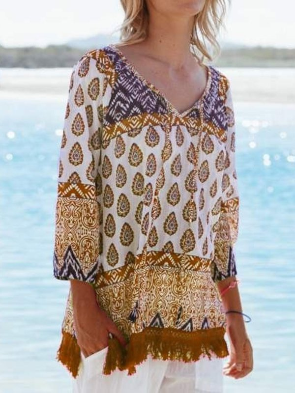 V Neck Boho Printed Shirts & Tops
