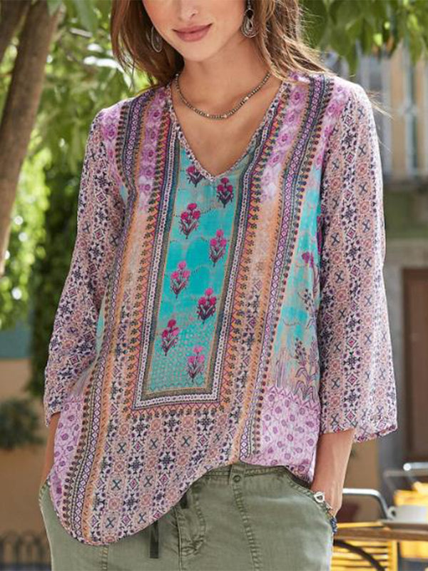 Casual V Neck Printed Long Sleeve Blouse