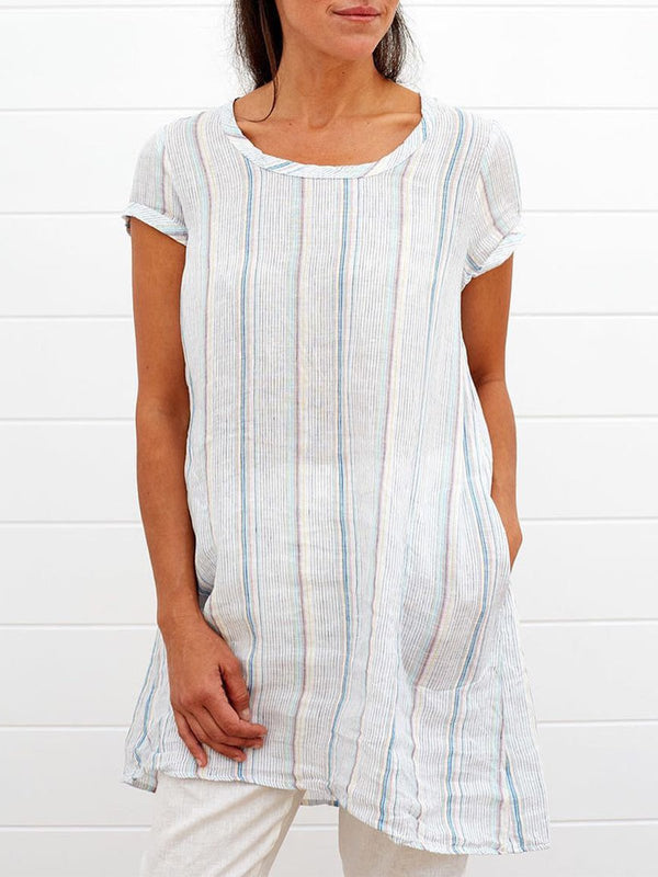 Plus Size Round Neck Short Sleeve Solid Striped Casual MIdi Tops