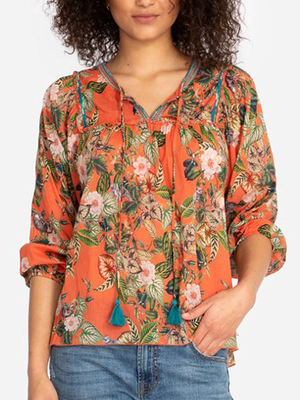 Casual V Neck Long Sleeve Floral Shirts & Tops