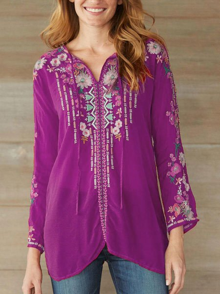 Red Cotton-Blend Floral Round Neck Long Sleeve Shirts & Tops