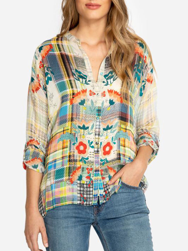 Long Sleeve Patchwork Cotton-Blend Blouse