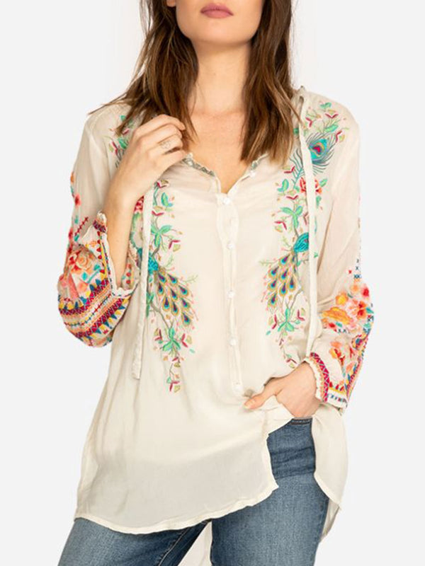 Cotton-Blend Casual Blouse