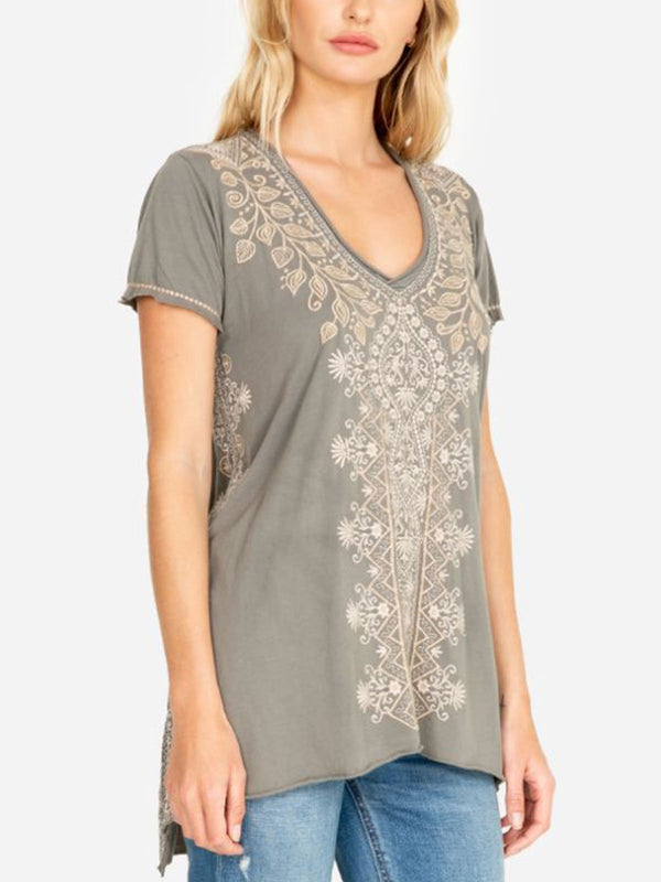 Grey Floral Casual Cotton-Blend Shirts & Tops