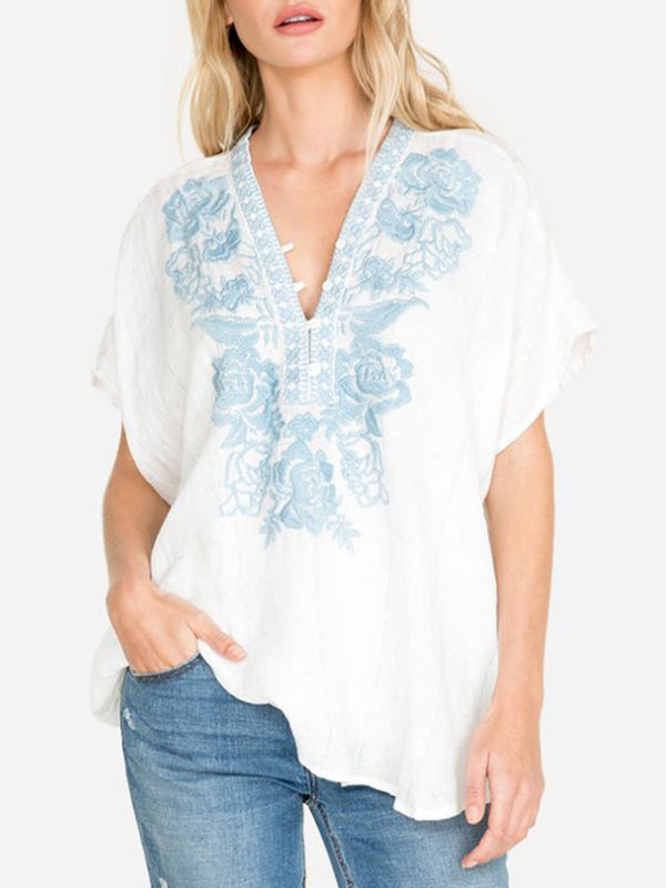 White Floral Round Neck Cotton-Blend Casual Shirts & Tops