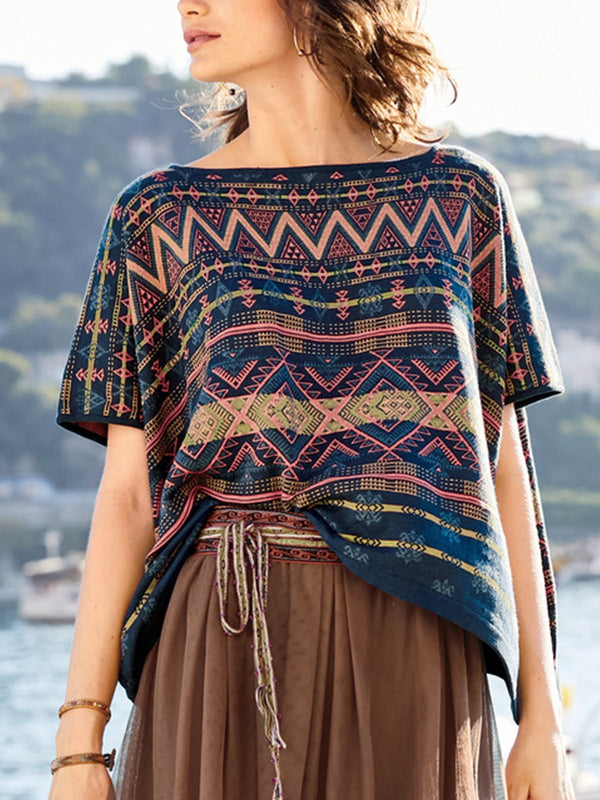 Plus Size Women Short Sleeve Boho Casual Tops
