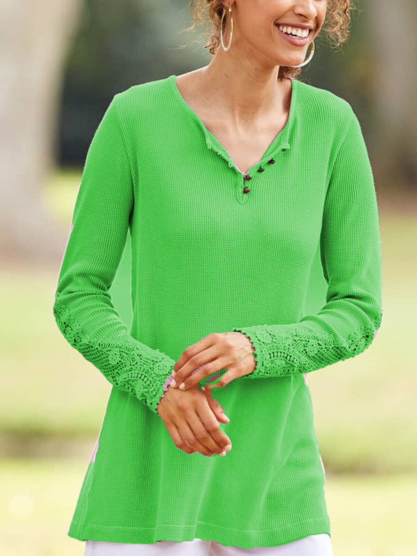 Fashion Knitted Pure Color Casual Long Sleeve T-shirt