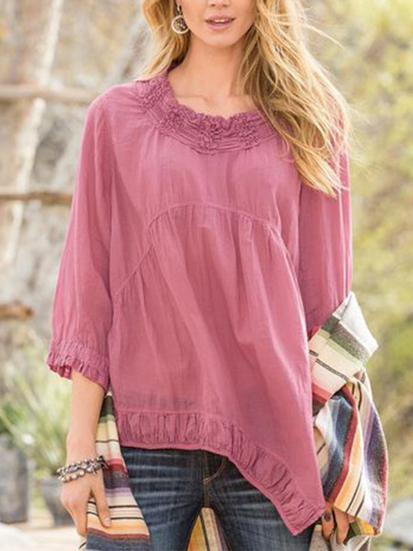 Women  Round Neck Cropped Sleeves Solid  Loose Casual Top