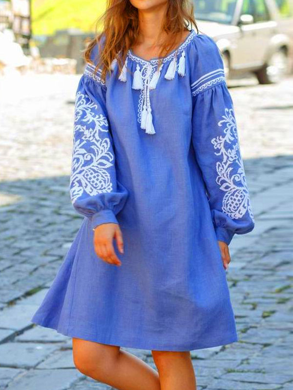 Women plus size long slessve casual boho dresses