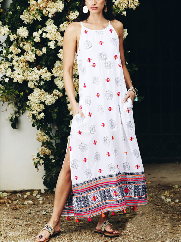 White Cold Shoulder Boho Printed Cotton-Blend Dresses