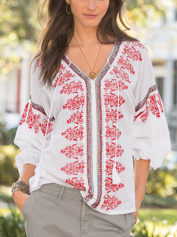 V Neck Printed Half Sleeve Boho Shirts & Tops