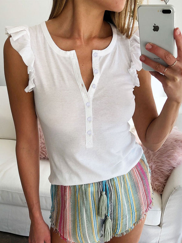 Fashion Women's Frill Sleeves Sexy Summer Tops