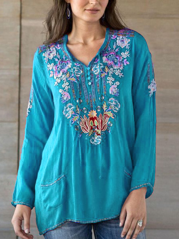 Elegant V Neck Printed Long Sleeve Shirts & Tops