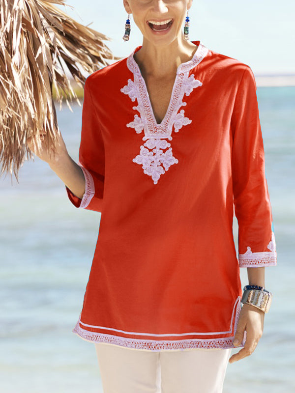V Neck Holiday Half Sleeve Patchwork Shirts & Tops