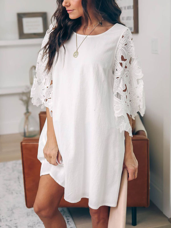 3/4 Sleeve Cotton-Blend Solid Dresses