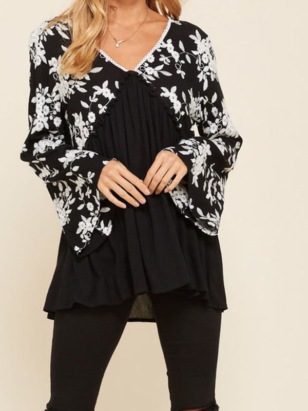 Floral Chiffon Casual Long Sleeve Shirts & Tops
