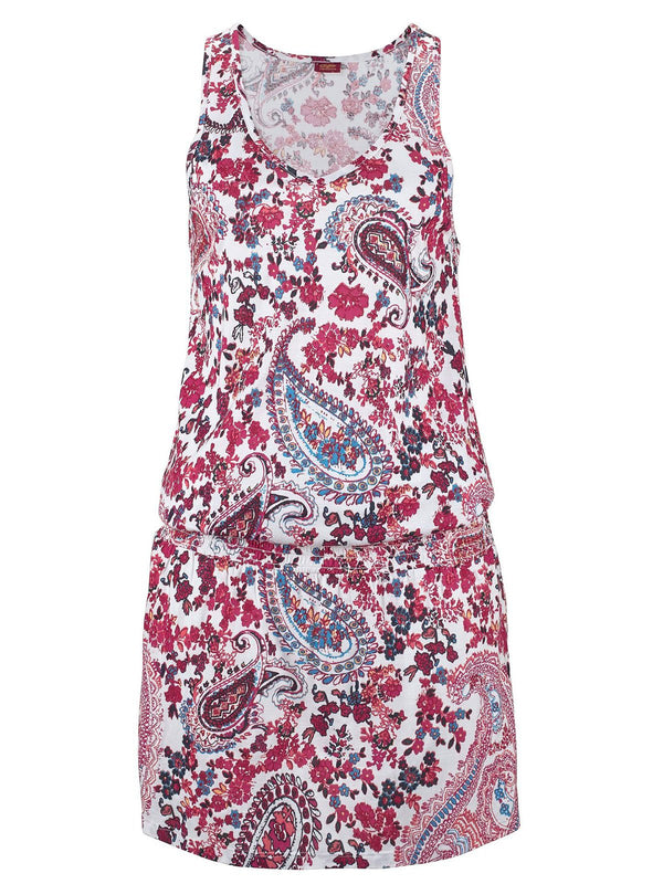 Floral Print Sleeveless U-Neck Boho Vacation Dresses