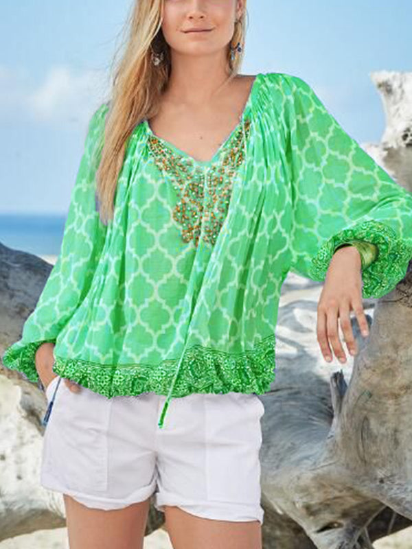 Chiffon Long Sleeve Boho Shirts & Tops