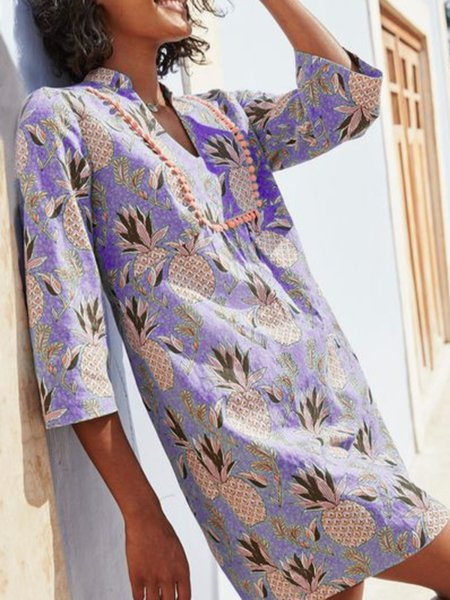 Casual Printed V Neck Dresses