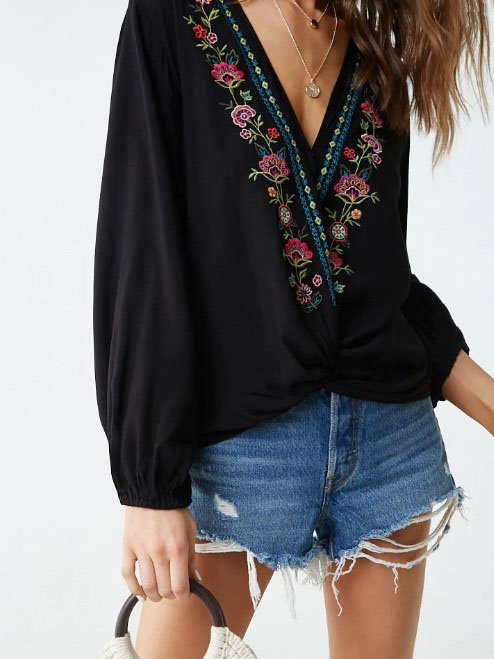 V Neck Floral Casual Chiffon Shirts & Tops