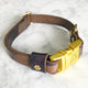 Camouflage - Henbury Leather Dog Collar (Gold) - Avaloncraftsg